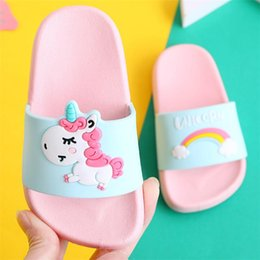 swim shoes for beach NZ - Unicorn Slippers For Boy Girl Cartoon Rainbow Shoes 2019 Summer Todder Flip Flops Baby Indoor Slippers Beach Swimming Slipper