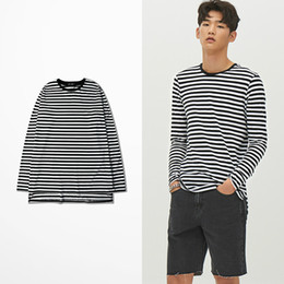 e8e33e9e97 Korean Fashion Tide Brand Retro Black White Strip Funny T Shirts X Hunter  Tokyo Ghoul T Shirt Long Sleeve Men Cotton Quality Tee