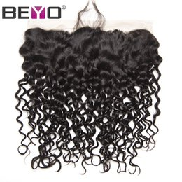 Brazilian lace closure 13x4 online shopping - Water Wave Frontal X4 Ear To Ear Lace Frontal Closure Human Hair Closure Brazilian Hair Swiss Lace Frontal Remy Hair Beyo