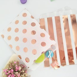 $enCountryForm.capitalKeyWord Australia - 100pcs Party Bags Rose Gold Dot Paper Grocery Packaging Lunch Flat Bottom Craft Paper Bags Boxes For Graduation Kids Party T190709
