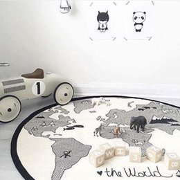animal world toys NZ - Cartoon Newborn Baby Crawling Mat Round Maze World Map Game Pad Kids Cotton Crawling Blanket Floor Play Rug Toys 135cm