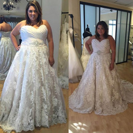Wholesale sexy dresses for fat women resale online – Plus Size Wedding Dresses Sweetheart Vestido De Noiva A Line Lace Wedding Dress for Fat Women Custom Made Vintage Wed Dress Wed