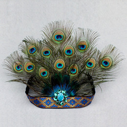 peacock feather wedding hair accessories NZ - Adults And Kids Halloween Carnival Party Peacock Feather Headdress Fashion Hair Band Dance Performance Show Hair Accessories J190507