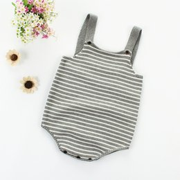 woolen knitted clothes NZ - Winter Baby Girl Clothe Knitted Infant Sleeveless Warm Cute Striped Print Baby Sweater Sweater Bodysuit Newborn Outfits