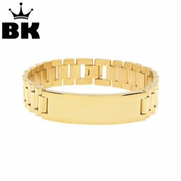 stainless steels accessories Australia - 2018 New Men Silver Gold Stainless Steel Bracelet & Bangle Male Accessory Hip Hop Party Rock Jewelry MX190720