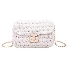 $enCountryForm.capitalKeyWord UK - New Fashion Hot Ins Woven Knitting Handbag Women Flaps Messenger Bag Cotton Fabric Handmade Plait Cover Shoulder Bag