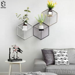 simple candle holders UK - Simple Style 3D Geometric Candlestick Metal Nordic Wall Candle Holder Sconce Matching Small Tealight Scandinavian Home Ornaments