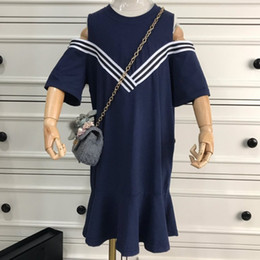 Off Products Australia - Children's wear girl dress Summer clothing 2019 new products Breathable White stripe College style off-the-shoulder casual design at