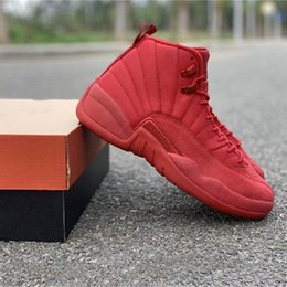 Christmas Gift Shoes Australia - TOP Bulls Basketball Shoes 12s All Red Christmas Gifts Fahion New Designer Brand Mens Athletic Sports Sneakers Size 8-12 Basketball Shoes 12