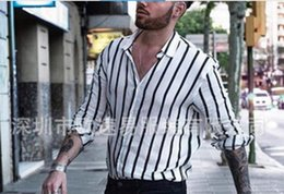 80181d31f49c 2019 HOT SELL new M-3XL Men's casual long-sleeved striped shirts polos  jackets coats black white singer Hair Stylist Stage costume Nightclub