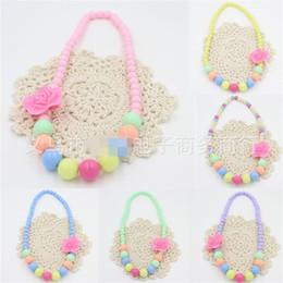 $enCountryForm.capitalKeyWord Australia - Big Flowers Necklace Round Beads Kids Jewelry Spring Fashion Necklaces Various Colours 0.8cm-1.2cm Handmade Hot Sale 1 5hl M1 E1