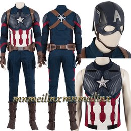 Wholesale captain america full suit for sale – halloween HOT Captain America Avengers Endgame Steve Rogers Cosplay Costume Superhero Fancy Outfit Customized Halloween Suit Helmet Hat