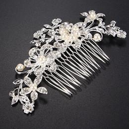 $enCountryForm.capitalKeyWord Australia - Wedding Bridal Jewellery Rhinestone Crystal Flower Pearls Hair Comb Clip Women Girls Gift