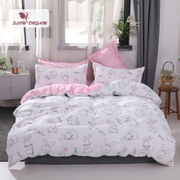 pink bedspreads queen size NZ - SlowDream Pink Girl Single 1.0M Students Bedding Set Double Queen King Size Adult Bedspread Bed Linen Cartoon Duvet Cover Set