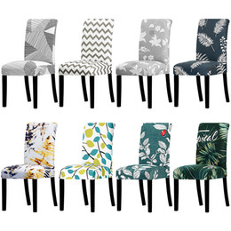 Used chair covers for weddings online shopping - Chair Cover Printed Stretch Anti dirty Elastic Seat Cover used For Wedding Party Home Kitchen Dining Room office living room