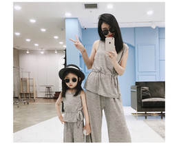 O Legs Belt Australia - Mommy and me matching outfits girls lace-up Bows belt sleeveless tops+wide legged pants 2pcs sets cotton children clothing F7792