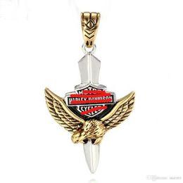 $enCountryForm.capitalKeyWord NZ - European and American men's stainless steel pendant personality retro Harley Titanium punk Eagle Pendant letters