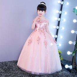 Princess Print Tutu Australia - Custom Made Flower Girl Dresses for Wedding Blush Pink Princess Tutu Sequined Appliqued Lace Bow 2019 Vintage Child First Communion Dress