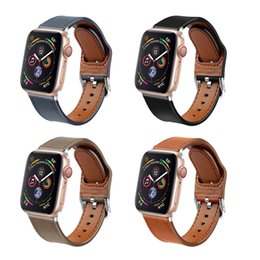 replacement leather strap Canada - Designer Luxury Apple Watch Bands Wristband Smart Straps 38 40 42 44mm Classic Leather Bracelet Watch Belt Replacements Iwatch Series 54321