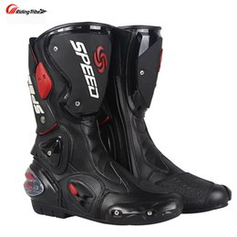Profesyonel Motosiklet Boot Motocross Yarışı Mikrofiber Deri Çizmeler erkek Motosiklet damla direnci boot
