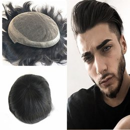 Back Hair Men Australia - French Lace Toupee For Men Full Lace Frontal With Pu Back Human Hair Toupee Replacement Systems Breathable 7x10 Straight Men Hair