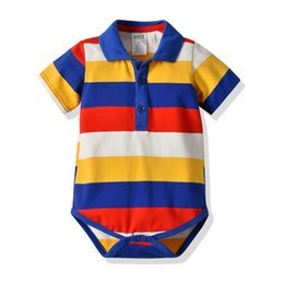 $enCountryForm.capitalKeyWord UK - Amazon explosions baby casual clothes children's short-sleeved conjoined clothes cotton striped romper factory direct