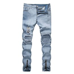 Wholesale jeans fashion trends resale online - Summer New Fashion Casual Men Europe And The United States Trend Slim Fit With Broken Straight Tube Jeans