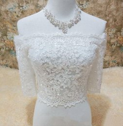 $enCountryForm.capitalKeyWord Australia - High end customizatoin white Beaded Lace Bride Wraps Custom Made Half Sleeves Bridal Jackets For Wedding Lace Up Wedding Wraps Bridal Access