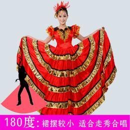 c8d3ca435168 Flamenco Costumes Australia - Red New Starting Dance Spanish Flamenco Big  Swing Dress Adult Female Stage