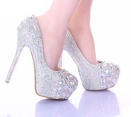 14cm Stiletto Shoes NZ - Luxury Sparkly Stiletto Heel Wedding Shoes Crystal Bride Formal Dress Shoes Platform Rhinestone Party Prom Heels 10 12 14cm