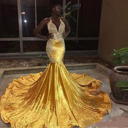 Backless Lace Light Yellow Dress Australia - 2019 Elegant Yellow Velvet Long Mermaid Prom Dresses For Black Girl Halter Lace Appliques Evening Gowns Backless Sweep Train Prom Wear