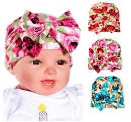 Discount beanie baby balls - Girl Hats Newborn Baby Infant Toddler Hat Bowknot Hospital Cap Flower Kid Beanie Hats Cute Soft 27 styles Cotton Caps Gi