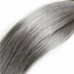 China Elibess Brand--Human Hair Bulk no weft Top Grade 8A Peruvian Brazilian Silk Straight Hair Extension 300gr Silver Gray color suppliers