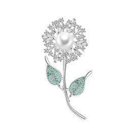 $enCountryForm.capitalKeyWord UK - Fashion Trend Copper Brooch Cute Dandelion Green Leaf Flower Copper Zircon Brooch Backpack Dress Jewelry High Quality