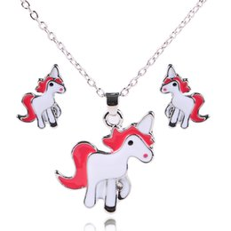 unicorn earrings NZ - Trendy Gifts High Quality Animal Unicorn Necklace Earrings Jewelry Set Girls Statement Necklaces & Pendants Women Accessories