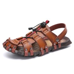 03030c699cedb Men's Summer Sandals Casual Beach Shoes Slippers Slip On Leather Leisure  Trend Shoes Soft Anti-Slip Big Size 38-47 Hollow Out