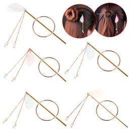 $enCountryForm.capitalKeyWord Australia - Women Hairpins Stick Round Ring Chain Pendant Dangle Wings Gold Clip Hairpin Headwear Women Jewelry Headdress Luxury Fashion Vin