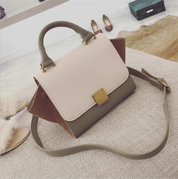 Big handBags messenger style online shopping - Designer New women s bag Europe and America big color hit color wings bag fashion wild lady handbag shoulder Messenger bag