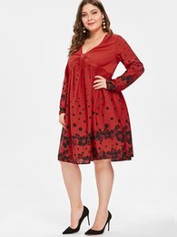 Wipalo Plus Size Women Spring Vintage Dress Floral Print Polka Dot A-Line  Party Dress High Waist Hepburn Rockabilly Robe Vestido b32477b6782e