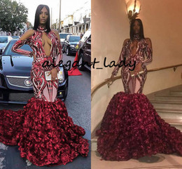 $enCountryForm.capitalKeyWord Australia - Elegant Evening Dresses 2019 Sexy Mermaid High Neck Long Sleeve Sparkly Sequin 3D floral Flower African Ladies Burgundy Prom Dress