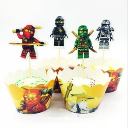 Baby Boy Cupcake Toppers NZ - Baby Shower Cake Toppers Events Party Ninjago Theme Kids Boys Favors DIY Cupcake Wrappers Birthday Decoration Supplies 24pcs lot