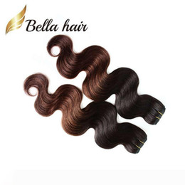 tone color 14 hair NZ - Brazilian Body Wave Human Hair Weft 2 Tone Ombre Weaves Queen Hair Products 14~30 Inch T Color 3pcs lot DHL Free Shipping Bella Hair
