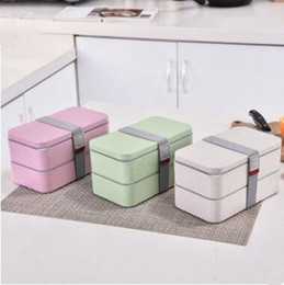 Wholesale Wheat Straw Lunch Boxes Double Portable Environmental Protection Student Bento Box Microwave Heating Box Food Storage Containeres WY39Q