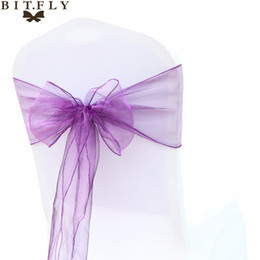 Fabric Decorations For Parties Australia - BIT.FLY 100Pcs lot High Quality Sheer Qrganza Wedding Chair Sashes Bows knot Decoration For Wedding Banquet Party Event Supplies