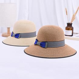 Sun Hats For Ladies Australia - 2019 NEw Strip Bowler Straw Hat For Women Fashion Summer Bow Sun Hat European Ladies Beach Travel Sun Fedora