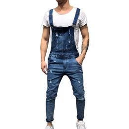 Ingrosso LITTHING 2018 Moda Uomo Jeans Strappati Tute Street Distressed Hole Denim Salopette Per Uomo Bretella Pantaloni Taglia M-XXL