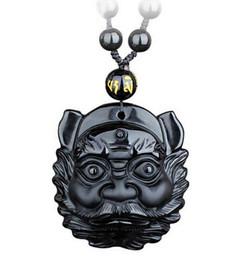 $enCountryForm.capitalKeyWord Australia - Obsidian Hand Carved ZhongKui Lucky Head Amulet Pendant Free Obsidian Necklace Pendants Fashion Fine Jewelry
