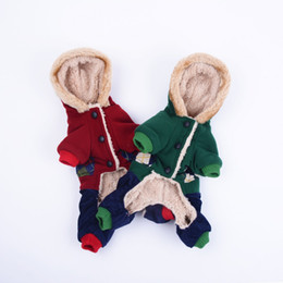 b47a6c9a1 cartoon Teddy wholesale Warm Fleece Dogs Cute Jumpsuit Hooded Four Legs Pet  Clothing thick winter dog clothes