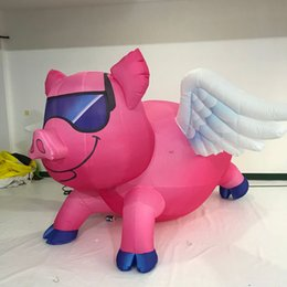 Inflatable For Event Party Decoration Australia - inflatable pig and wing for show props inflatable flying pig balloon for party event decoration