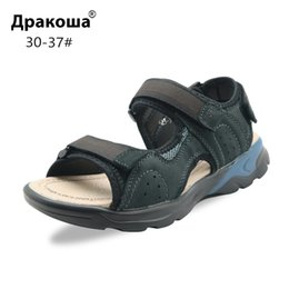 Beach Shoes For Boys Australia - Apakowa Boys Soft Genuine Leather Hook and Loop Beach Sandals for Little Boy Kids Summer Open Toe 3 Straps Sports Sandals Shoes